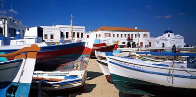 Rowboats On A Harbor, Mykonos, Greece Art Print