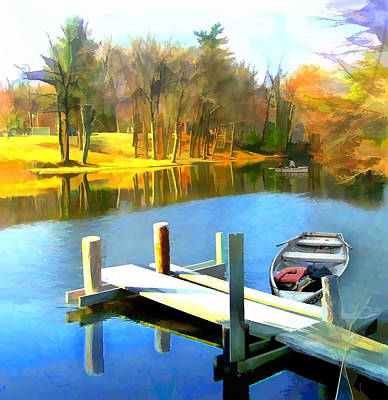Row Boat Digital Art - Rowboats On Blue Water Lake by Elaine Plesser