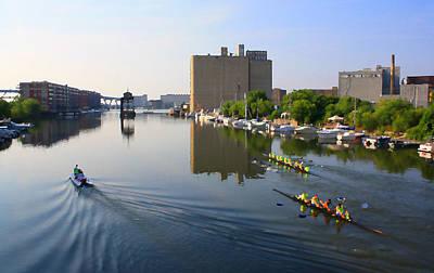 Digital Art - Rowers Milwaukee River 1 by Geoff Strehlow