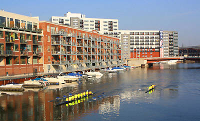 Rowers Milwaukee River 2 Art Print by Geoff Strehlow