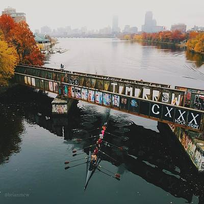 Photograph - Rowers Under Bu Bridge In Autumn by Brian McWilliams