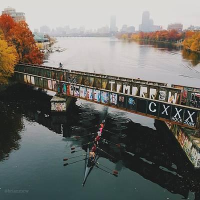 Rowers Under Bu Bridge In Autumn Art Print