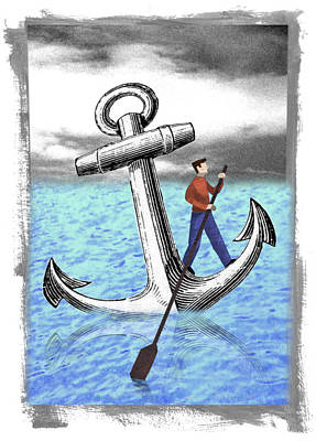 Boating Digital Art - Rowing Anchor by Steve Dininno