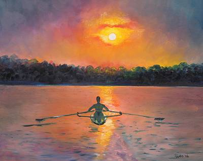 Sunrise Painting - Rowing Away by Eve  Wheeler