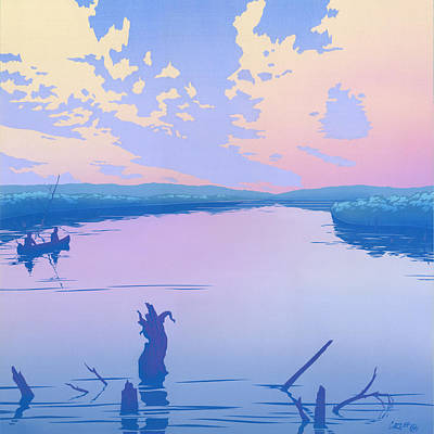 Canoeing The River Back To Camp At Sunset Landscape Abstract - Square Format Original
