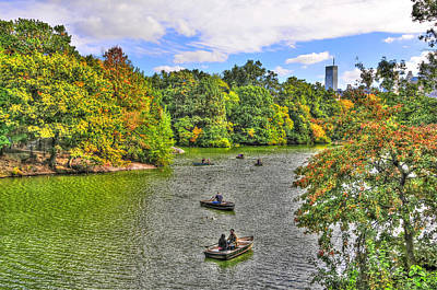 New York City Photograph - Rowing Boats On The Central Park Lake by Randy Aveille