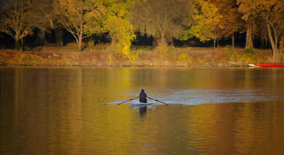 Row Boat Digital Art - Rowing In The Golden Light Of Autumn by Bill Cannon