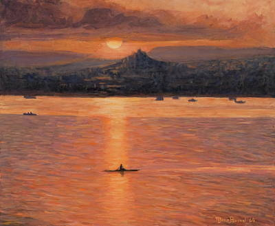 Rowing In The Sunset Art Print by Marco Busoni