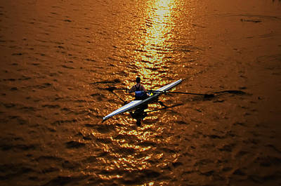 Rowing Into The Sunset Art Print by Bill Cannon