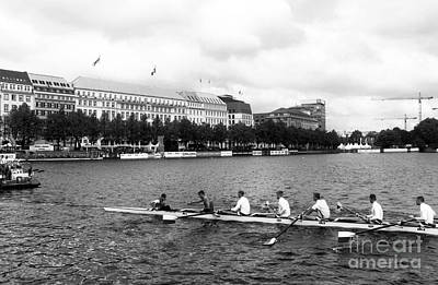 Rowing On The Lake In Hamburg Mono Art Print by John Rizzuto