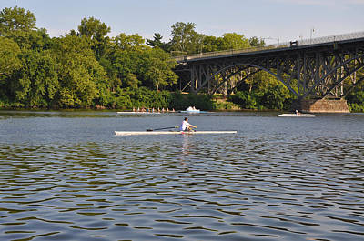 Mansion Digital Art - Rowing On The Schuylkill River by Bill Cannon