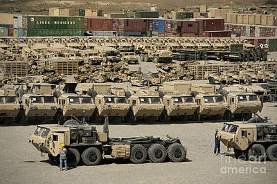 Rows Of Heavy Vehicles And Supplies Art Print