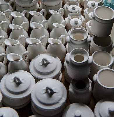 Photograph - Rows Of White Earthenware Jugs by Joseph Amaral