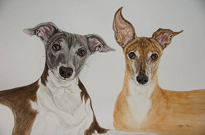 Dog Painting - Roxie And Bruno The Greyhounds by Megan Cohen