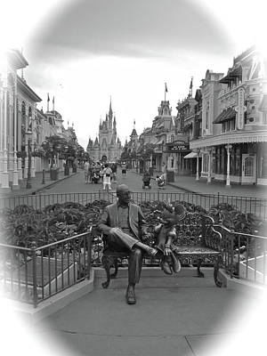 Roy And Minnie Mouse Black And White Magic Kingdom Walt Disney World Art Print by Thomas Woolworth