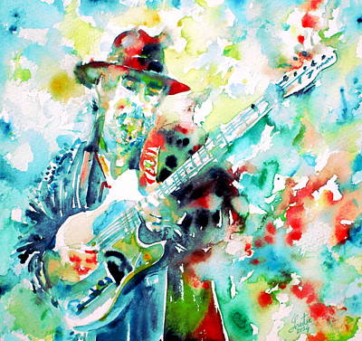 Roy Painting - Roy Buchanan Playing The Guitar - Watercolor Portrait by Fabrizio Cassetta