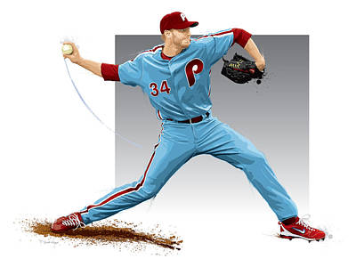 Roy Digital Art - Roy Halladay by Scott Weigner