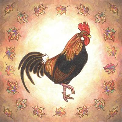 Chickens Painting - Roy The Rooster Two by Linda Mears