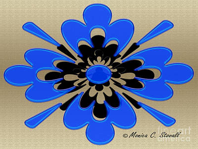 Digital Art - Royal Blue On Gold Floral Design by Monica C Stovall