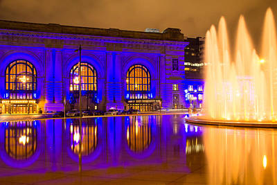 Royal Blue Reflections Union Station Art Print
