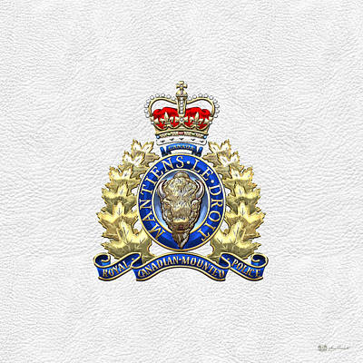 Digital Art - Royal Canadian Mounted Police - Rcmp Badge On White Leather by Serge Averbukh
