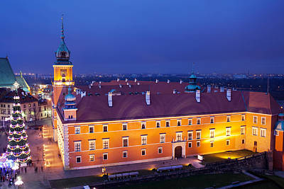 Christmas Holiday Scenery Photograph - Royal Castle In Warsaw At Night by Artur Bogacki
