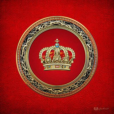 Royal Crown In Gold On Red  Original by Serge Averbukh