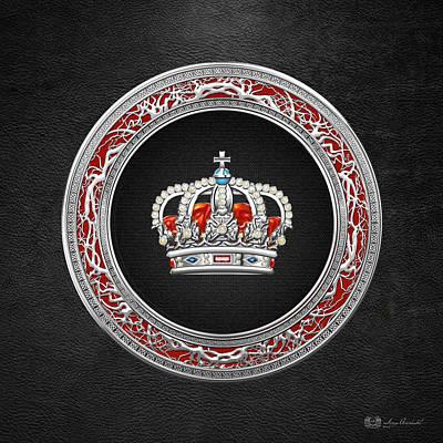 Royal Crown In Silver On Black  Original by Serge Averbukh
