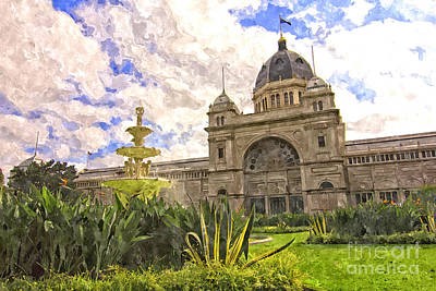 Historic Site Digital Art - Royal Exhibition Building And Carlton Gardens Hochgurtel Fountai by Beverly Claire Kaiya