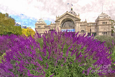 Historic Site Digital Art - Royal Exhibition Building And Salvia Maynight Purple Flowers by Beverly Claire Kaiya