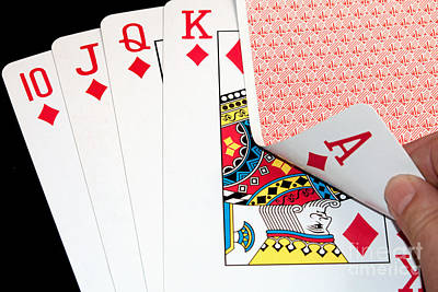 Photograph - Royal Flush Poker Hand by Gunter Nezhoda