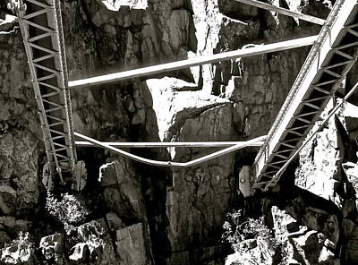 Photograph - Royal Gorge Bridge Support B W by Jeff Gater