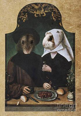 Royal Hamster Family Human Body Animal Head Portrait Original by Jolanta Meskauskiene
