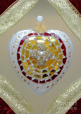 Mosaic Mirrors Glass Art - Royal Heart by Heidi Sieber