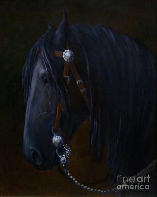 Western Painting - Royal Jewels - Friesian Horse by Kim Corpany