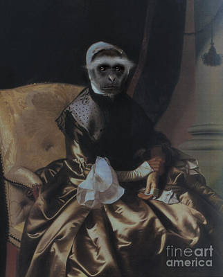 Royal Lady Monkey Human Body Animal Head Portrait Original