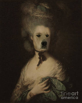 Royal Lady With A Hat Human Body Animal Head Portrait Original