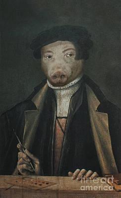 Royal Mr. Artist Pig Human Body Animal Head Portrait Original by Jolanta Meskauskiene