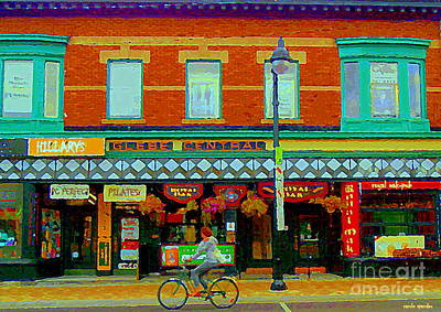 Streetscenes Painting - Royal Oaks British Pub Hillarys And Pc Perfect Glebe Central Paintings Of Ottawa Scenes C Spandau by Carole Spandau