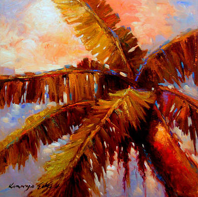 Painting - Royal Palms 2 - Colorful Tropical Palms Print by Kanayo Ede