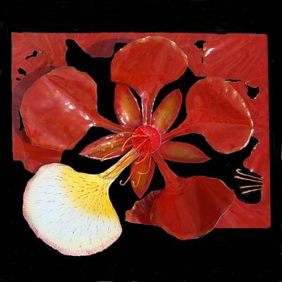 Royal Poinciana Bloom Set In A Bed Of Petals Art Print by Diane Snider