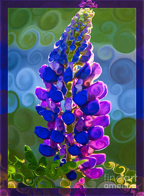 Art Print featuring the painting Royal Purple Lupine Flower Abstract Art by Omaste Witkowski
