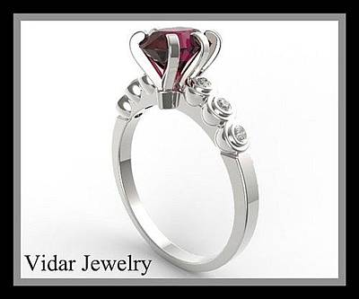 Jewelry - Royal Red Ruby 14k White Gold Engagement Ring by Roi Avidar
