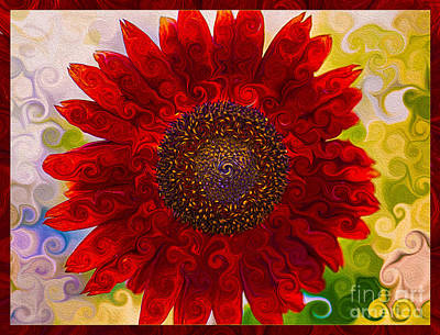 Fauvism Mixed Media - Royal Red Sunflower by Omaste Witkowski