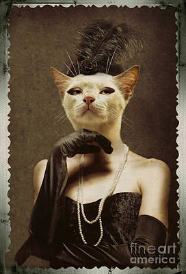 Royal Retro Kitty Human Body Animal Head Portrait Original