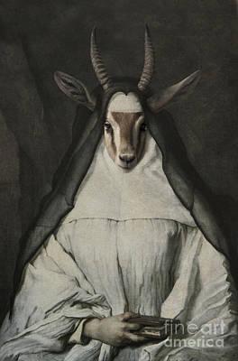 Royal Sister Gazelle Human Body Animal Head Portrait Original