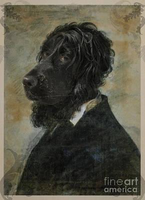 Royal Teacher Black Dog Human Body Animal Head Portrait Original by Jolanta Meskauskiene