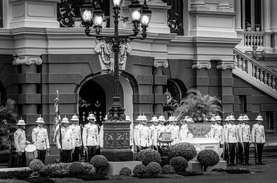 Er Photograph - Royal Thai Palace Guard In File And Rank At The Grand Palace Bangkok Thailand by Colin Utz