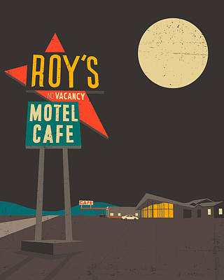 Desert Digital Art - Roys Cafe by Jazzberry Blue