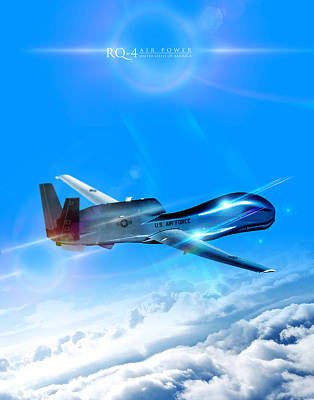Flying Hawks Digital Art - Rq-4 Global Hawk Into The Blue  by Reggie Saunders